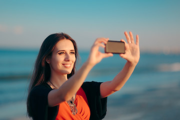 Summer Woman Taking a Selfie at the Beach