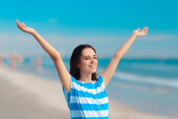 Cheerful Happy Woman Reaching her Arms Up at the Beach