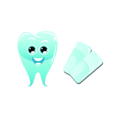 Funny and cute cartoon character of tooth and two gum, flat vector illustration isolated on white background