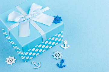 Blue nautical decor, gift box