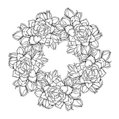 Oval frame with many flowers buds and nature, vector line art illustration isolated on white background, black and white version