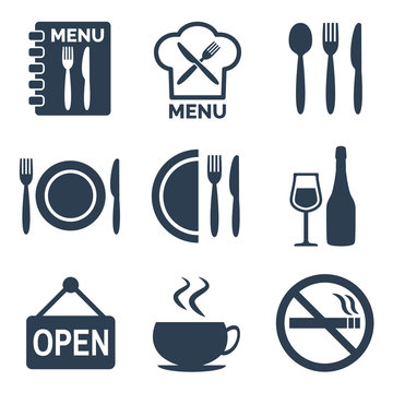 Restaurant icons set on white background.