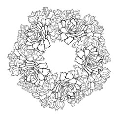 Black and white circle of flowers in line art design, vector illustration isolated on white background, hand drawn realistic picture