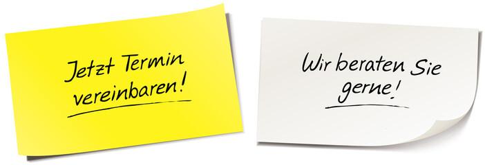 Haftnotiz Set mit Handschrift: Jetzt Termin vereinbaren! - Wir beraten Sie gerne!