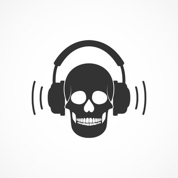 Vector image of a skull and headphones.