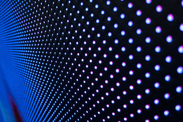 Abstract background, close up LED wall screen, blue and purple shade