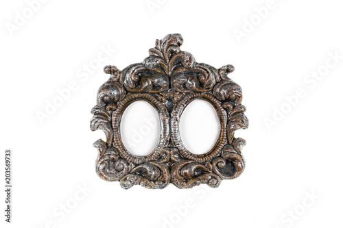 vintage victorian stone frame on white background, framework\