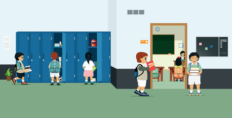 Classrooms with student lockers and students bringing books out of the locker.
