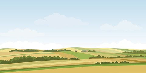 Green hill countryside landscape. Vector illustration of panorama field landscape and cloud sky. Wall mural