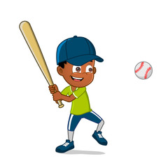boy playing baseball cute cartoon character