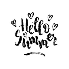 Hello summer. Vector brush lettering with hearts. Black quote isolated on white background. Summer phrase in grunge style