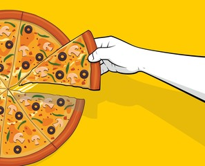 Man hand picking pizza slice