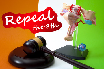 Repeal the eighth amendment of the irish constitution, women rights legislation in ireland and feminism concept with a medical model of the female reproductive system, gavel and flag in the background