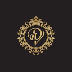 Initial letter DV, overlapping monogram logo, decorative ornament badge, elegant luxury golden color