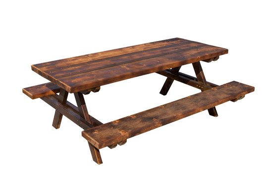Wooden picnic table isolated on white