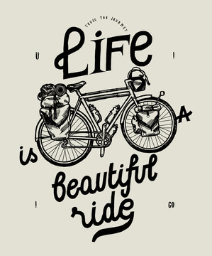 life is a beautiful ride travel bicycle quote - vintage bike typography print