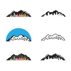 set of logo mountain city logo