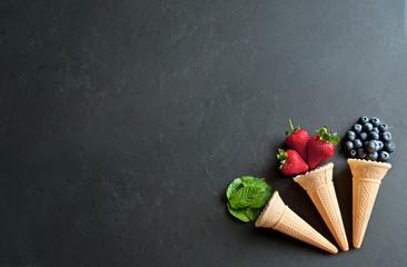 Three natural icecream cones
