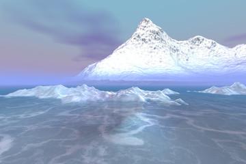 Snowy mountain, a polar landscape, frozen sea, pink horizon and a blue sky.