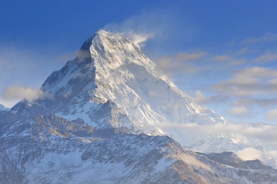 Annapurna South view from Poon Hill, Ghorepani, Dhaulagiri massif, Himalaya, Nepal.