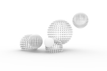 Spheres, modern style soft white & gray background. Blur, rendering, digital & creative.
