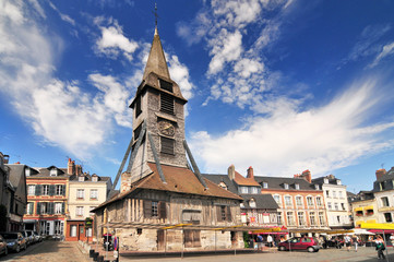 Bell tower of the Sainte Catherine church of Honfleur in Normandy.