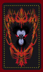 Tarot cards - back design.  Phoenix. Pluto