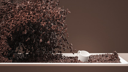 Wave of Coffee Splashes on Espresso Cup