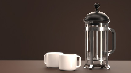 French Press with Two Espresso Cups