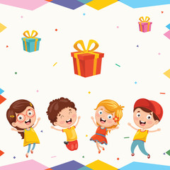 Vector Illustration Of Kids And Gift Boxes