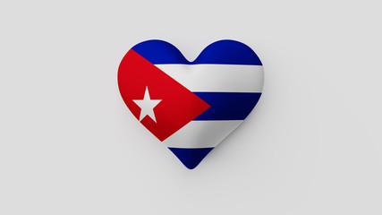Corazón bandera Cuba. 3D