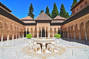 Patio de los Leones (Patio of the Lions) in the Palacios Nazaries, The Alhambra, Granada, Andalucia, Spain.