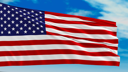 The flag of the United States with 50-th star. American flag against the sky.