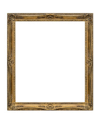 Old picture frame on white background, including clipping path
