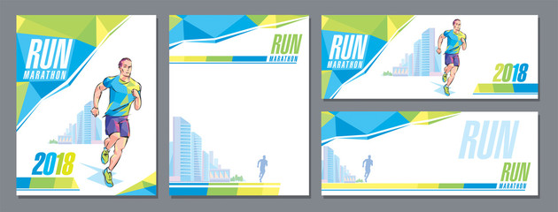 Vector runner marathon city skyscrapers design cover template banner corporate style sign character