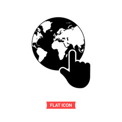 Earth vector icon, touch world map symbol. Flat sign illustration for web or mobile app