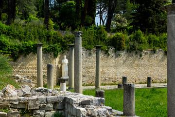 Roman ruins with female statue on the back (Hadrien empreror wife) in Vaison-la-Romaine city. France 2018.