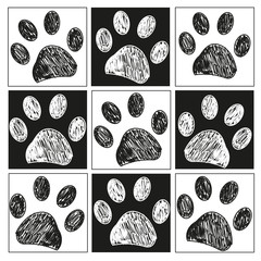 Doodle paw print pattern with black white square