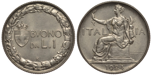 Italy Italian coin 1 one lira 1924, crowned Savoy shield within wreath, allegorical female seated left,