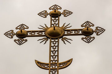 Old-believers Orthodox cross, close-up, background