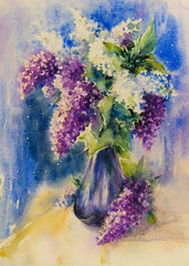 Bouquet of white and violet lilacs in vase on a table. Picture created with watercolors.