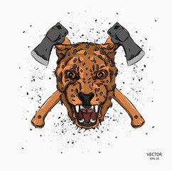 portrait of a leopard against a background of axes. Can be used for printing on T-shirts, flyers and stuff. Vector illustration