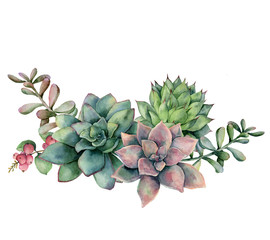 Watercolor succulent bouquet with berries. Hand painted green and violet flowers, branch and red berries isolated on white background. Floral illustration for design, fabric, print or background.