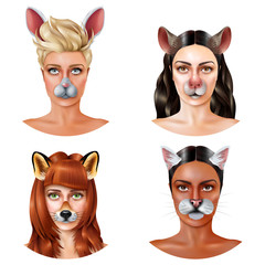 Cute Animal Faces Design Concept