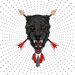a portrait of a leopard against a backdrop of arrows