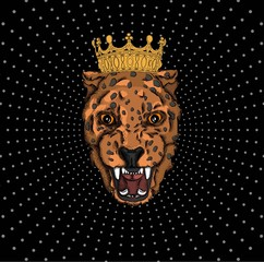portrait of a leopard in the crown. Can be used for printing on T-shirts, flyers and stuff. Vector illustration