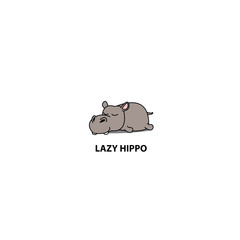 Lazy hippopotamus sleeping icon, vector illustration