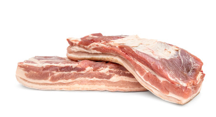 Two piece of raw pork brisket on white background. Raw meat.