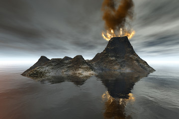 Volcano, an island landscape, fire and smoke on the crater, reflection in the sea, and a cloudy sky.