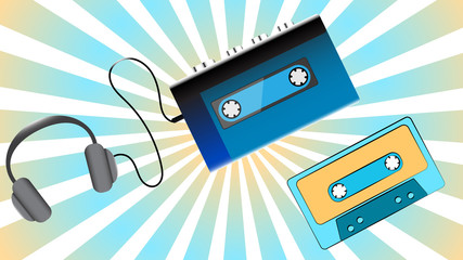 Blue old retro vintage hipster portable music cassette audio player for audiocassettes from the 80's, 90's, audio cassettes and headphones against the blue rays. Vector illustration